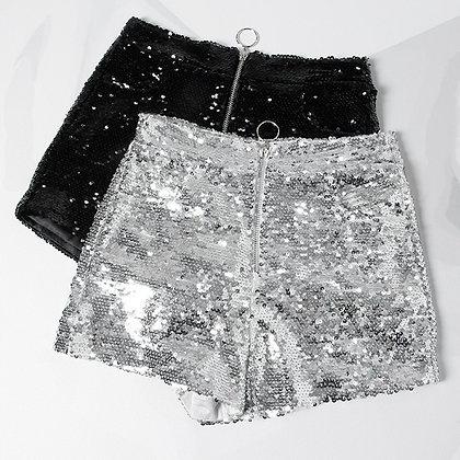 High Waist O-Ring Zip Bodycon Shorts