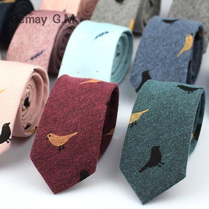 Fashion Ties for Men Cotton Narrow Tie Skinny Cravat Neckties