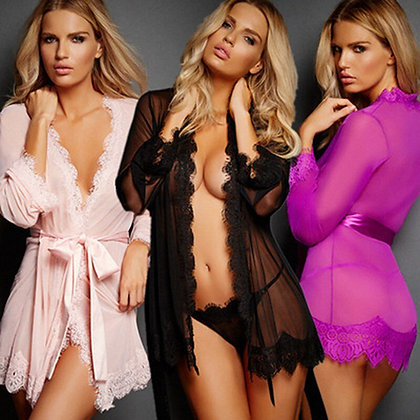 Sexy Lingerie Woman Erotic Pajamas LaceTransparent Black Sexy Lingerie