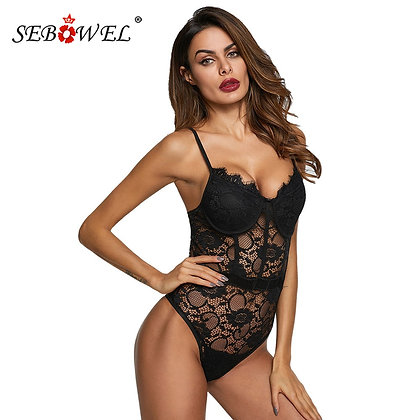 SEBOWEL / Floral Lace Bodysuit With Cups at Googoostore