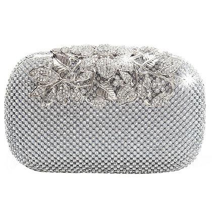 Unique Clasp Silver Diamante Crystal Diamond Evening Bag Clutch Purse