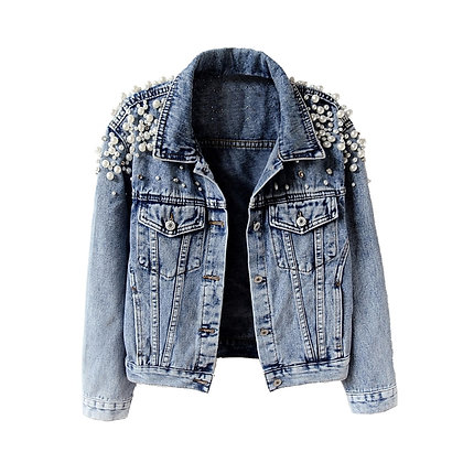 Plus Size Denim Jacket / Pearl Casual
