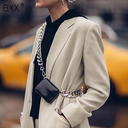 [BXX] 2021 Spring Summer Stylish Solid Color Bags / Chain Zipper PU Leather
