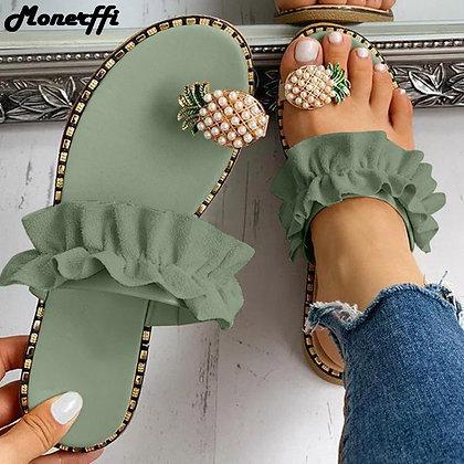Pineapple Pearl Flat Toe Bohemian Casual Beach Sandals