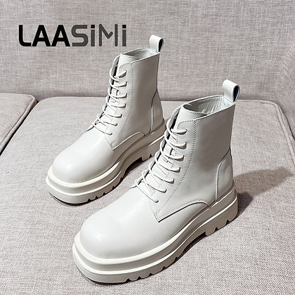 LAASIMI Women Platform Boots / Genuine Leather Ankle Boots / Lace Up
