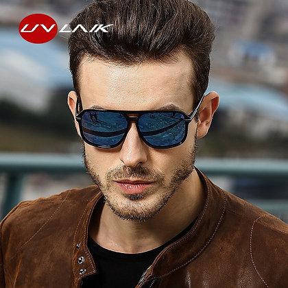 UVLAIK Rectangle Polarized Sunglasses Men Oversized Mirror Driving Sunglasses