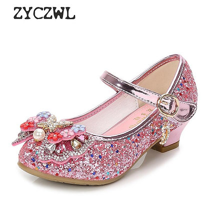 Children Princess Leather High Heels Sequin Children's Shoes