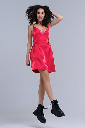 Fuchsia Dress With Crossed Ribbons