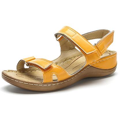 Large Size 46 Open Toe Summer Sandals / Hook & loop Wedge Heels