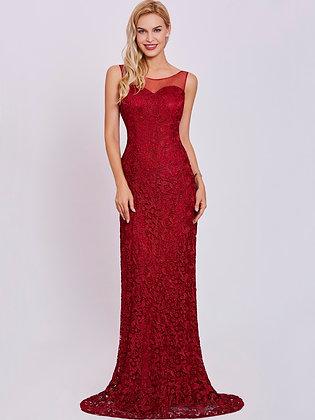 Burgundy Sleeveless Floor Length Formal Long Evening Dress