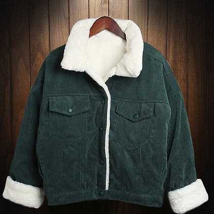 Top Quality Women Corduroy Jackets Autumn Winter Warm Lamb Fur