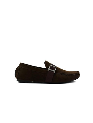 Boy's Soft Textile Buckle Slip on Loafers Brown