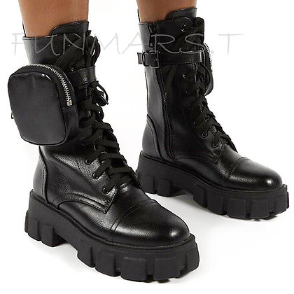 2020 New Chunky Boots Fashion Pocket Platform Ankle Boots / Sole Pouch