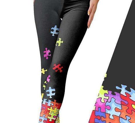 Autism Puzzle Ribbon Leggings
