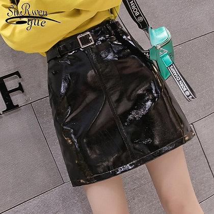 Bright Black PU Leather Slim High Waist Mini Skirt