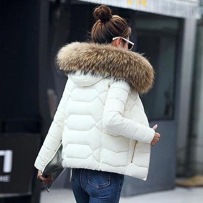 Down Coat / Slim - Fur Collar Hooded Down Jacket