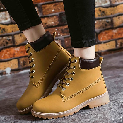High Quality Leather Lace-Up Ankle Boots