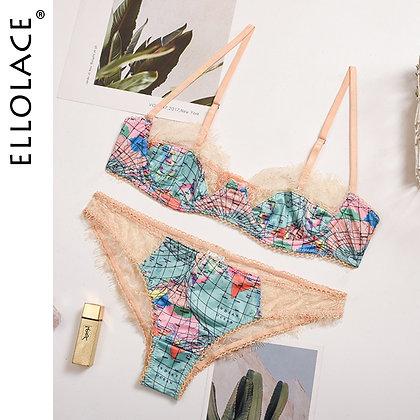 Ellolace Lingerie Push Up Bralette Lace Underwear Set Sexy Lingeie Set World Map