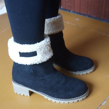 2020 New Women Winter Snow Warm Boots 5cm High Heels Fur Felt