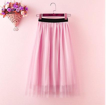 Elastic High Waist Mesh Midi Pleated Skirt
