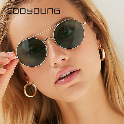 COOYOUNG Vintage Metal Round Sunglasses / UV400