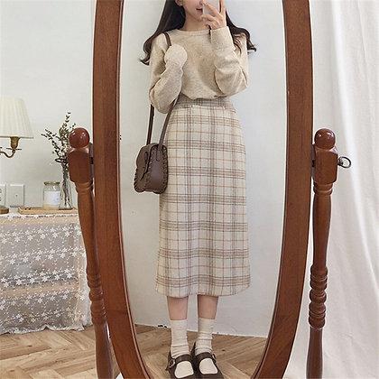 Vintage Plaid Pencil Long Skirt