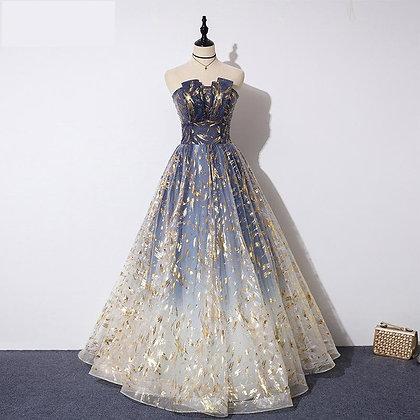 Formal Evening Dress / Strapless A-Line Prom Dress / Plus Sizes