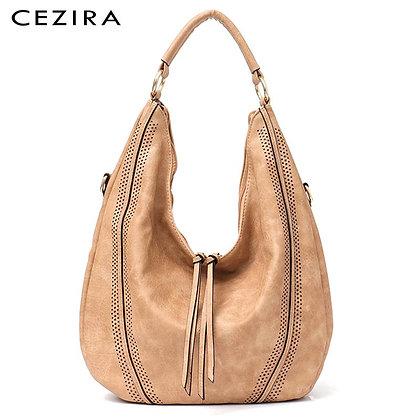 CEZIRA  Handbag Soft Ladies PU Leather /Hobos Zipper Tassel Tote