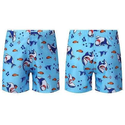 Kids Boys Elastic Waistband Shark Dolphin Printed Cute Swimwear Shorts