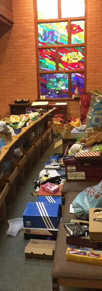 Packing presents in the church