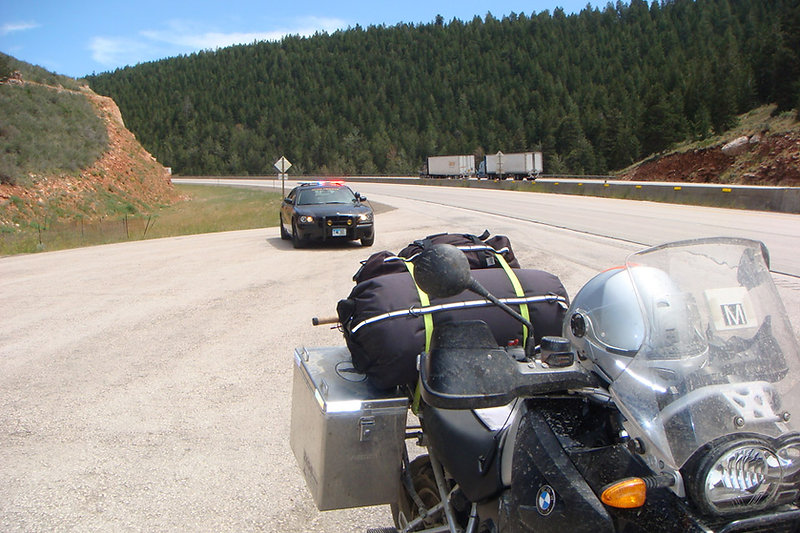 BMW R 1200RT pulled over by the Police on highway