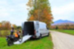 Unloading KLR 650 from van for coustomer pick up