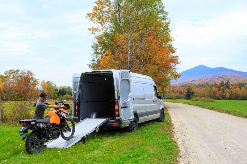 Unloading KLR 650 from van for coustomer pick up