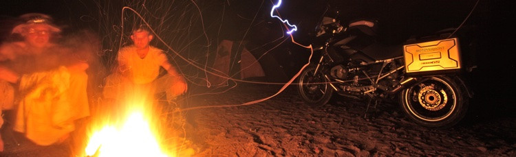 BMW GS by campfire during Bush moto Tour