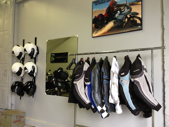 Inventory of motorcycle helmets and jackets in the MotoVermont shop
