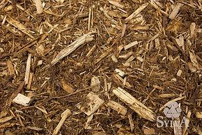 brown northern hardwood shredded mulch mixed with blonde shredded cypress mulch