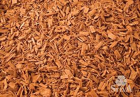 Golden orange chip fiber mulch