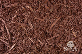 brown and red toned shredded colored landscaping mulch