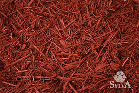 bright red shredded landscape mulch