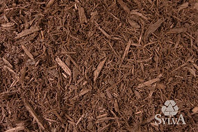 light brown with red tone colored mulch