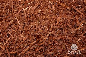 red orange toned shredded wood fiber