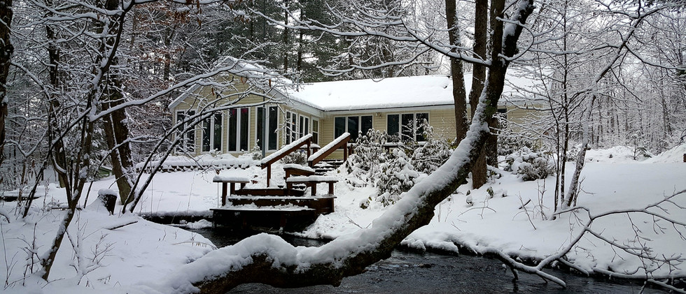 wintertime at the cabin along the creek