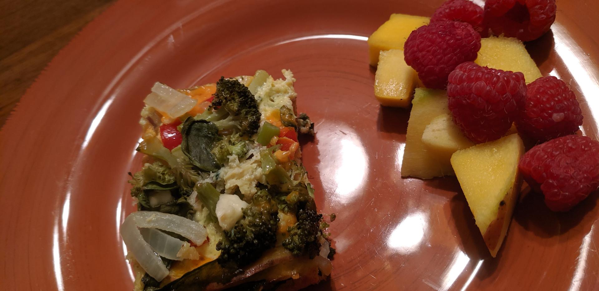 breakfast option of frittata and fruit