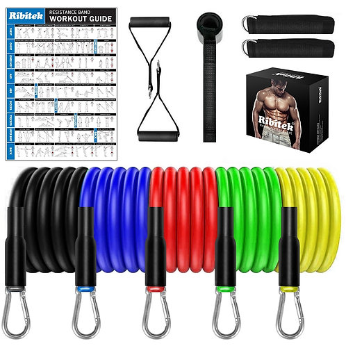 Complete Resistance Bands Set, Complete Mobile Workout Kit With Exercise Sheet