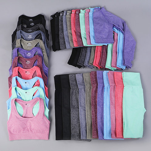 Seamless Yoga Set, 3 Piece Outfit w/ High Waist Pants, Variety of Colors