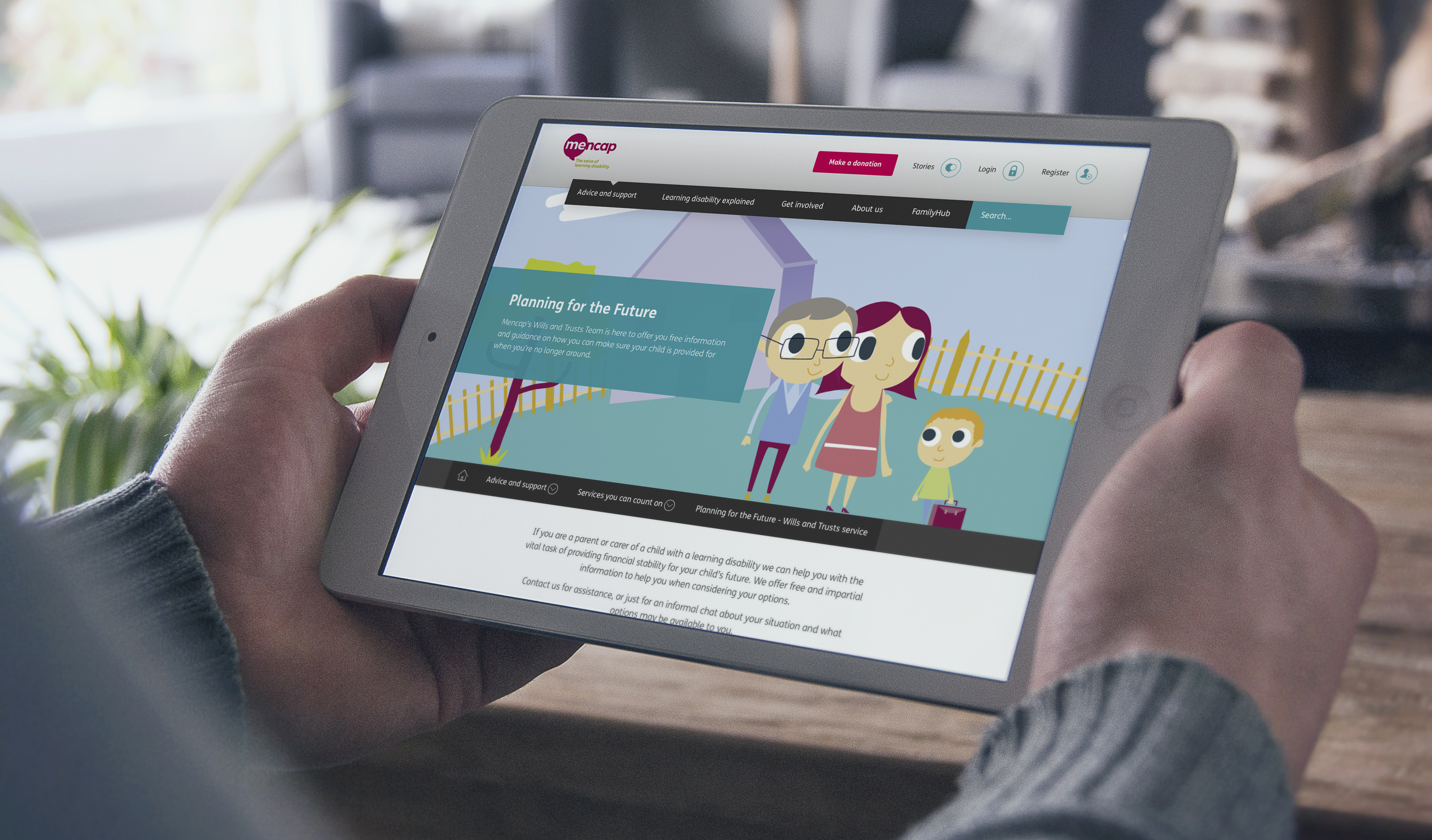 mencap website pig on ipad