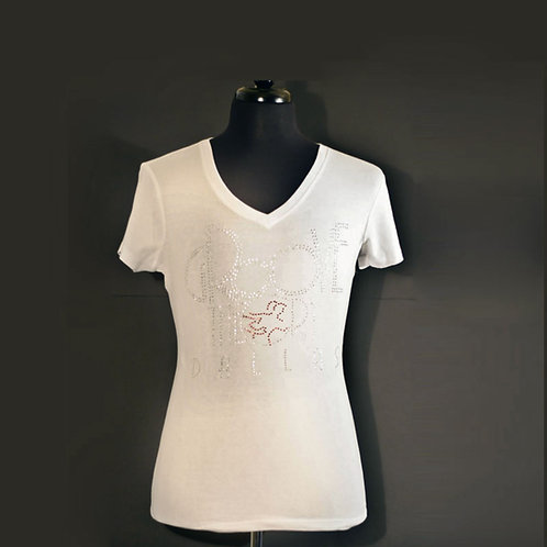 Ladies Shirt V-Neck Fitted Bling (White)