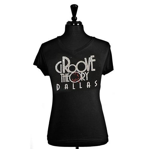 Ladies Shirt V-Neck Fitted Glitter (Black)