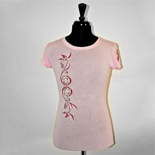 """Ladies shirt """"Vertical"""" Glitter (Pink) Cancer Awareness"""