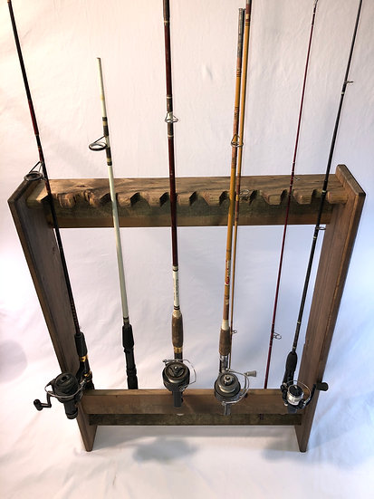 10 Fishing Rod Wall Mount Rack